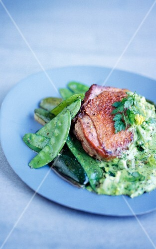 Chicken with mange tout and herb sauce