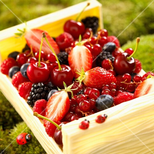 A crate of summer fruits