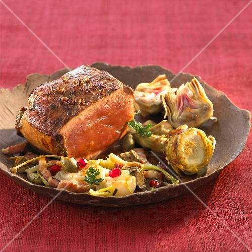Veal liver with braised artichokes