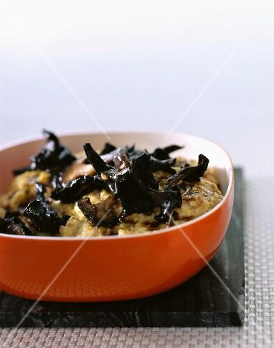 Polenta with wood ear mushrooms