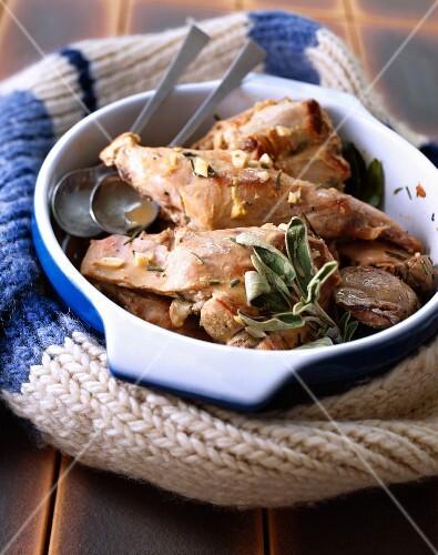 Rabbit stew with garlic