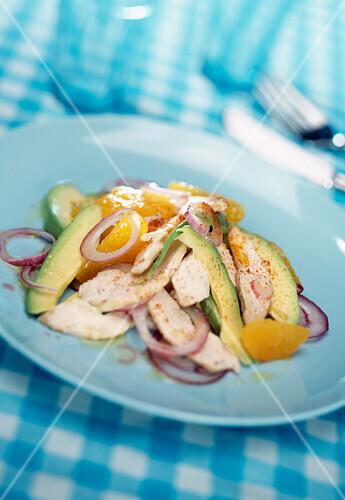 Free-range chicken colorful salad