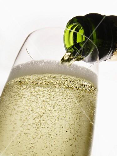 Champagner in ein Glas giessen