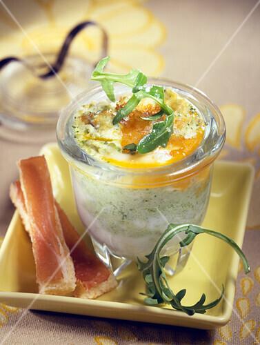 Coddled egg with rocket mousse