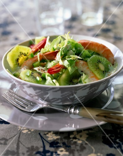 Fresh salad with kiwis