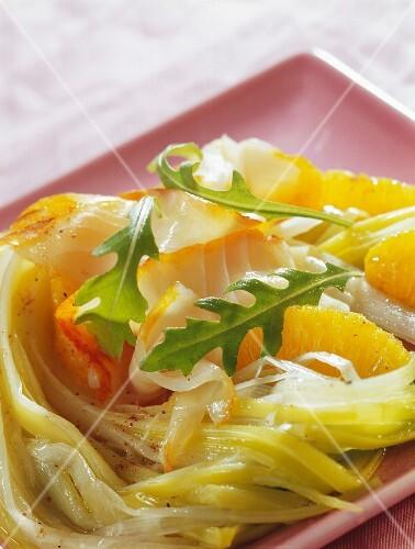 Haddock, leek and orange salad