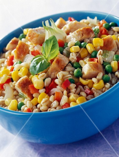 Chicken and wheat risotto