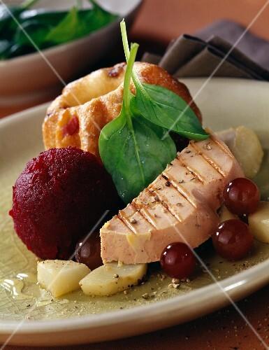 Foie gras and kouglof with summer fruit sorbet