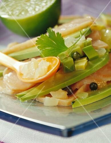 Thinly sliced avocado avocado with smoked fish