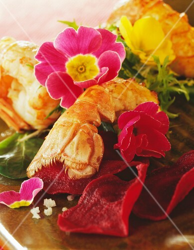 Langoustine and edible flower salad