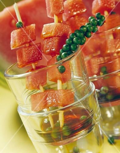 Caramellized watermelon brochetteswith green pepper