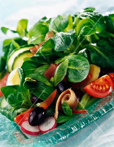 Sweet corn lettuce salad a la nicoise