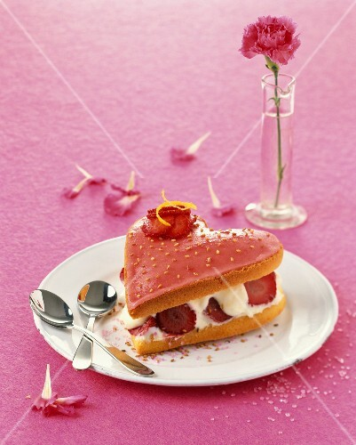 Strawberry and sesame seed heart-shaped dessert