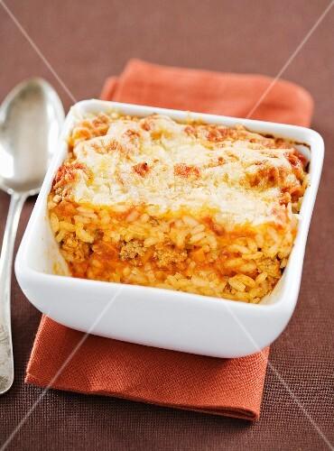 Rice and tomato gratin