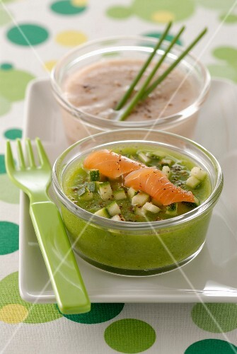 Courgette mousse with smoked salmon