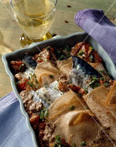 Buckwheat crepe and mackerel bake