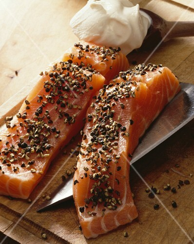 Pieces of salmon with black pepper