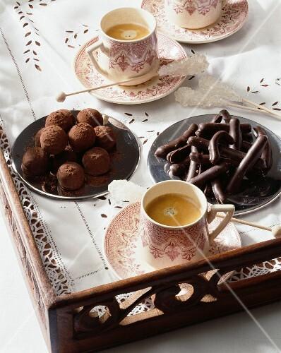 Chocolate truffles and chocolate-orange sticks