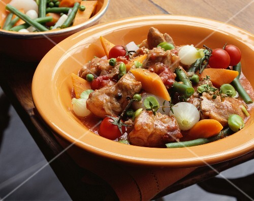 Lamb ragout with young spring vegetables