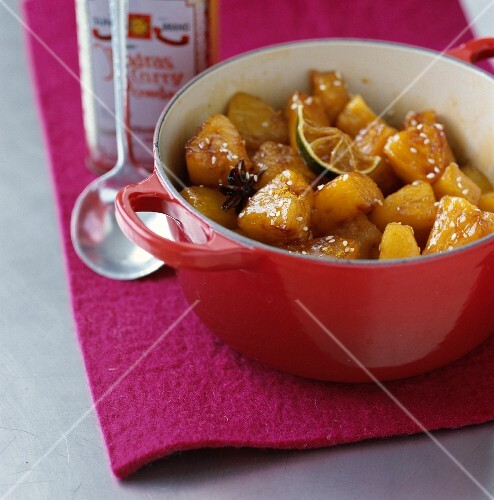 Pineapple and mango confit with honey and curry