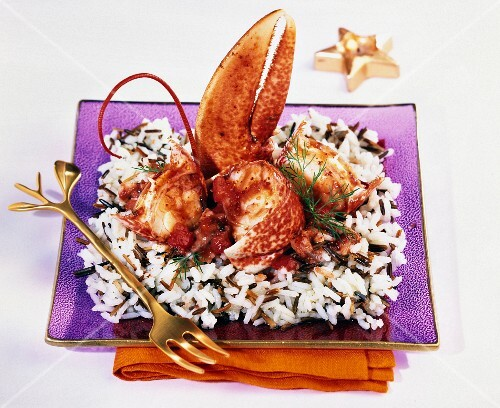 Lobster with wild rice