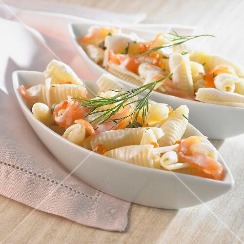 Pasta and smoked salmon salad