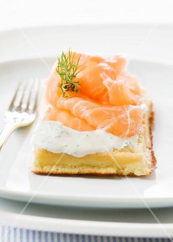 Waffle with smoked salmon and cream