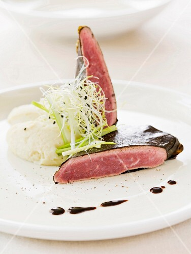 Lamb with celery puree