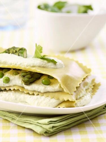 Asparagus and pea lasagnes