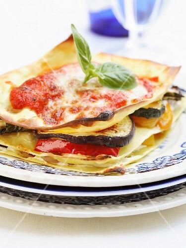 Mediterranean vegetable lasagnes