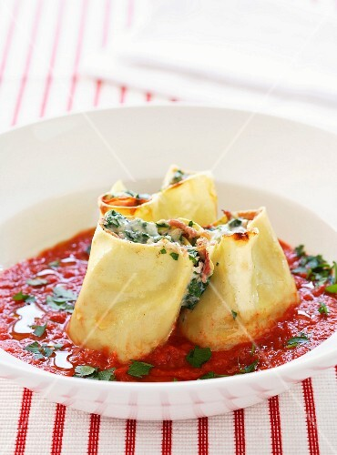 Ham Cannellonis with tomato sauce