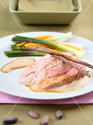 Veal with cocoa and licorice creamy sauce