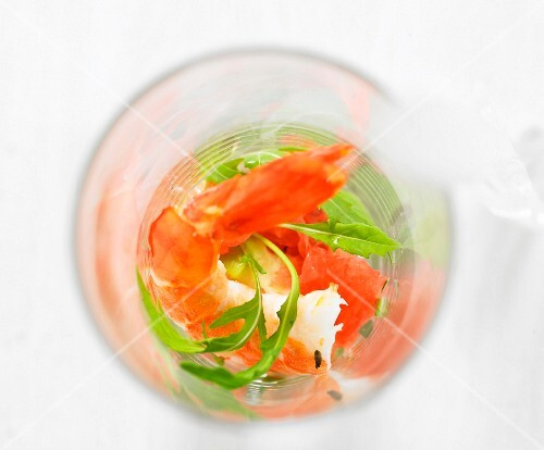 Prawn salad in a salad (seen from above)