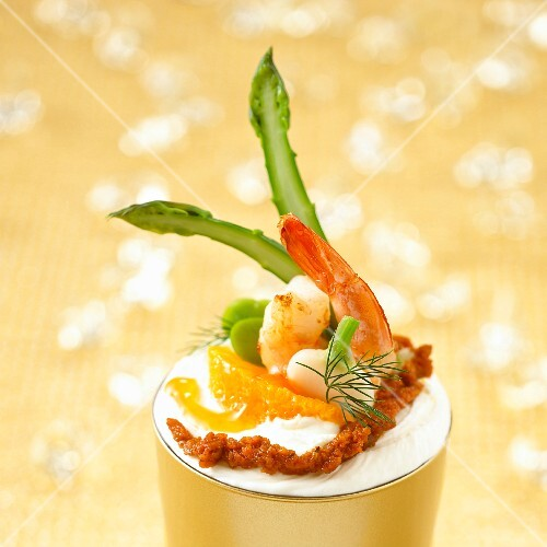 Cream cheese, shrimp, green vegetable and citrus fruit cocktail