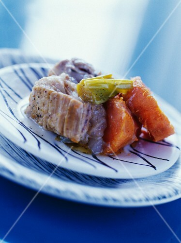 Blanquette de veau (veal fricassee, France) with oranges and sweet potatoes