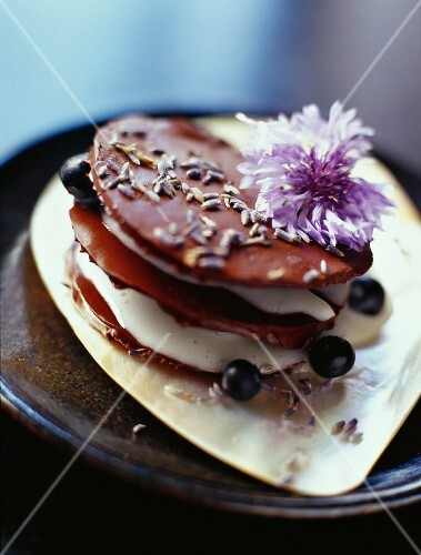 A layered cake with lavender chocolate