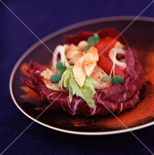 Spicy chicken on red cabbage