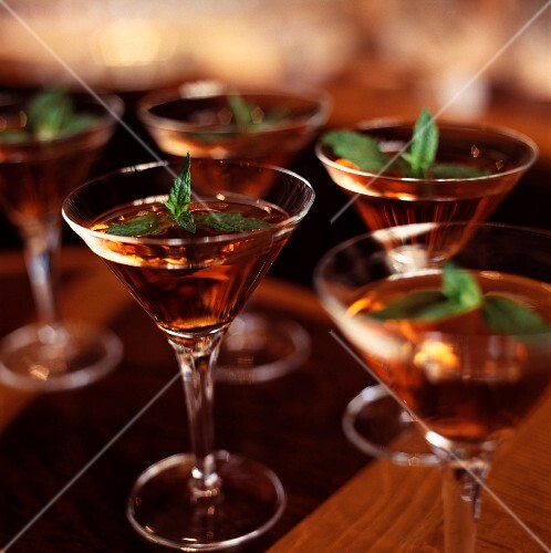 Cocktails with cognac and fresh mint
