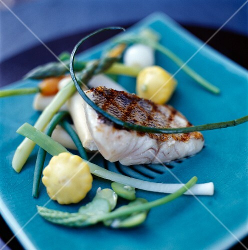 Seabream with young vegetables and patty pan squash