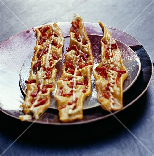 Crispy pastries with bacon