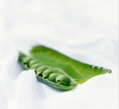 A opened pea pod
