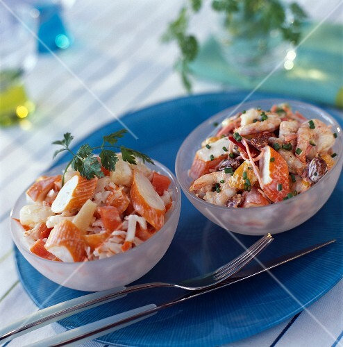 Surimi cab and shrimp mini salads