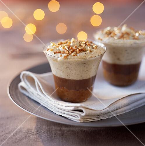 Walnut cream,chestnut and brownies in coffee dessert
