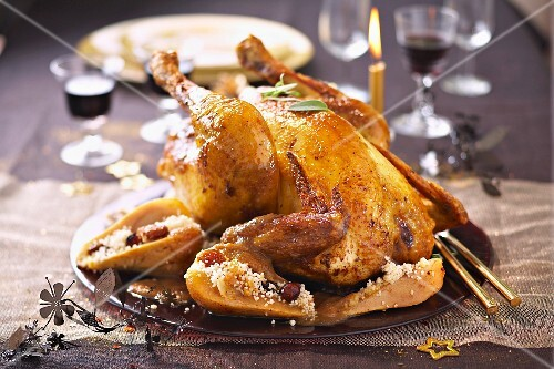 Roast capon with Mendiants and pears ,spicy semolina