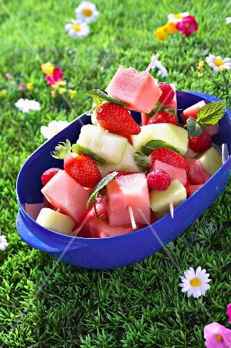 Minty seasonal fruit brochettes
