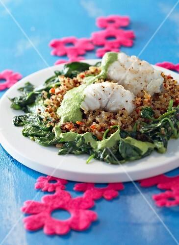Monkfish with spinach, quinoa and pesto
