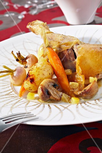 Marinated duck with confit lemons and confit vegetables