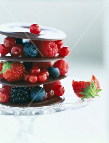 Chocolate discs and summer fruit mille-feuille