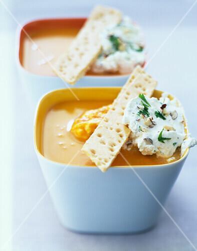 Cream of pumpkin soup with hazelnut whipped cream