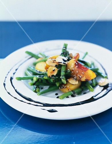 Green bean, peach and thinly sliced almond salad